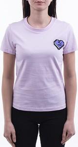 Różowy t-shirt Puma z okrągłym dekoltem w sportowym stylu z krótkim rękawem