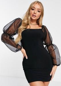 Czarna sukienka Asos bodycon mini z długim rękawem