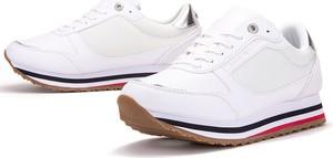 Buty sportowe Tommy Hilfiger na platformie sznurowane ze skóry