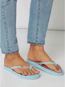 Niebieskie klapki Tommy Jeans z płaską podeszwą