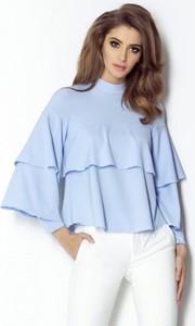 Niebieska bluzka Ivon z długim rękawem z tkaniny