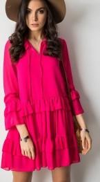 Różowa sukienka Cocomore z długim rękawem oversize w stylu casual