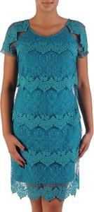 Turkusowa sukienka POLSKA z krótkim rękawem z okrągłym dekoltem