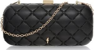 Czarna torebka Ochnik z haftem w stylu glamour na ramię