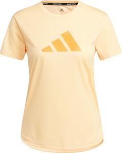 Żółty t-shirt Adidas z okrągłym dekoltem