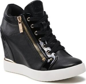 Czarne buty sportowe Aldo ze skóry ekologicznej na koturnie