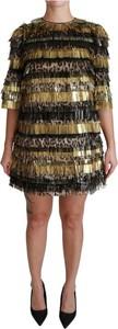 Sukienka Dolce & Gabbana mini z okrągłym dekoltem