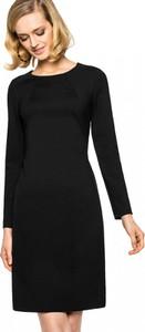 Czarna sukienka L'AF z długim rękawem w stylu casual prosta