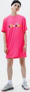 Różowa sukienka Ellesse w sportowym stylu mini z okrągłym dekoltem
