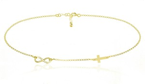 Lian Art Srebrny naszyjnik z infinity i krzyżykiem - 2MR 24k złocenie