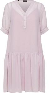Różowa sukienka Selected Femme mini z krótkim rękawem w stylu casual