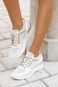 Buty sportowe Saway z płaską podeszwą ze skóry sznurowane