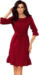 Czerwona sukienka NUMOCO z długim rękawem midi