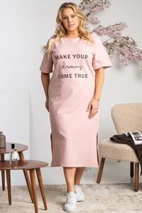Sukienka KARKO z krótkim rękawem z okrągłym dekoltem dla puszystych