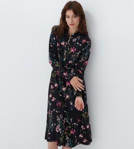 Czarna sukienka Mohito maxi koszulowa
