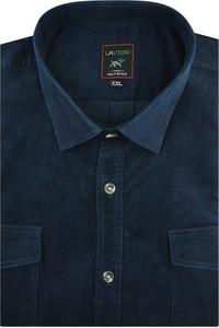 Niebieska koszula Laviino ze sztruksu z długim rękawem z klasycznym kołnierzykiem