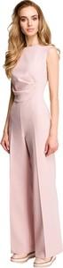 Różowy kombinezon Style z tkaniny z długimi nogawkami
