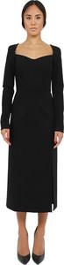 Sukienka Dolce & Gabbana maxi z dekoltem w kształcie litery v z długim rękawem
