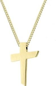 Manoki WA477G złoty, satynowany krzyż naszyjnik ze stali szlachetnej