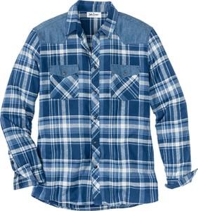 Niebieska koszula bonprix John Baner JEANSWEAR z klasycznym kołnierzykiem w stylu casual