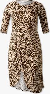 Brązowa sukienka CLOCKHOUSE w stylu casual z krótkim rękawem dla puszystych