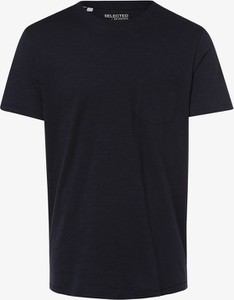 Niebieski t-shirt Selected z bawełny w stylu casual z krótkim rękawem