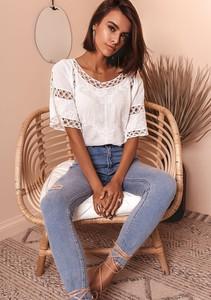 Granatowa bluzka Latika z bawełny z krótkim rękawem
