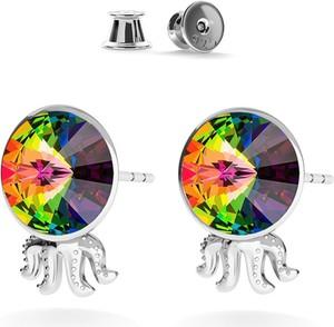 GIORRE SREBRNE KOLCZYKI MEDUZA SWAROVSKI RIVOLI 925 : Kolor kryształu SWAROVSKI - Crystal VM, Kolor pokrycia srebra - Pokrycie Jasnym Rodem