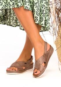 Brązowe sandały Casu ze skóry