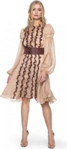 Brązowa sukienka ANETA KRĘGLICKA X L'AF w stylu casual