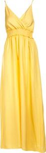 Żółta sukienka Multu dla puszystych z dekoltem w kształcie litery v maxi