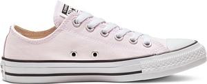 Różowe trampki Converse z płaską podeszwą sznurowane w stylu casual