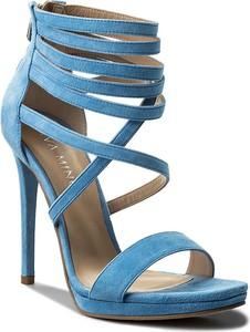 Niebieskie sandały eva minge na obcasie na zamek
