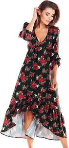 Sukienka Awama z długim rękawem z dekoltem w kształcie litery v maxi