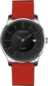 Czerwony zegarek chronos zegarki kwarcowe