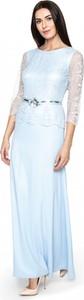 Niebieska sukienka POTIS & VERSO z szyfonu z długim rękawem z okrągłym dekoltem