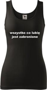 Czarny top TopKoszulki.pl z bawełny w sportowym stylu z okrągłym dekoltem