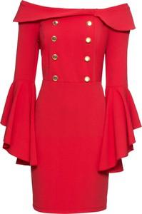 Czerwona sukienka bonprix BODYFLIRT boutique z długim rękawem