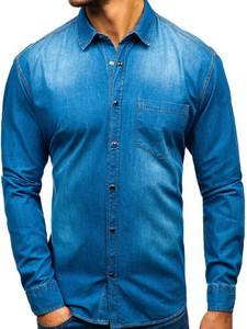 Niebieska koszula Denley z długim rękawem z klasycznym kołnierzykiem