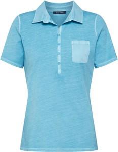 Turkusowa bluzka Marc O'Polo z krótkim rękawem z bawełny w stylu casual