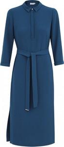 Niebieska sukienka POTIS & VERSO z długim rękawem z kołnierzykiem