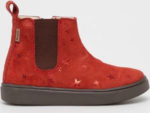 Czerwone buty dziecięce zimowe, kolekcja jesień 2019