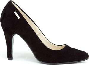 Czarne szpilki Zapato ze skóry na wysokim obcasie w stylu klasycznym