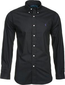 Czarna koszula Ralph Lauren z długim rękawem z kołnierzykiem button down z bawełny
