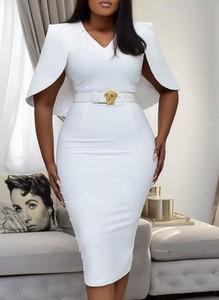Sukienka Cikelly z krótkim rękawem z dekoltem w kształcie litery v prosta