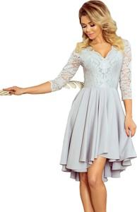 Sukienka NUMOCO asymetryczna z dekoltem w kształcie litery v z długim rękawem