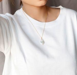 coccola.pl Złoty naszyjnik z ozdobną perłą naturalną słodkowodną- srebro 925 pozłacane XS