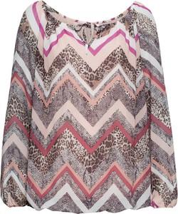 Brązowa bluzka bonprix BODYFLIRT w geometryczne wzory w stylu casual