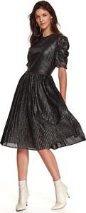 Sukienka Top Secret z długim rękawem z okrągłym dekoltem midi
