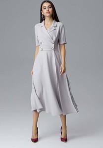 Sukienka Figl midi rozkloszowana z krótkim rękawem